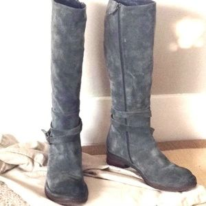 Alberto Fermani blue-grey leather suede boots